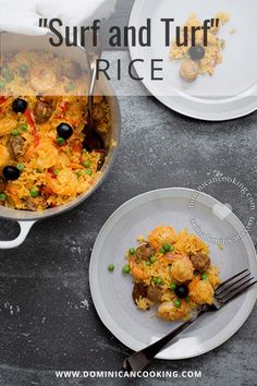 """A paella-inspired dish with all the flavors from my Caribbean paradise, """"Surf and Turf"""" Rice is so juicy and flavorful you will really crave it later. #rice #side #dinner #dominicanrecipe #dominicancooking #simplebyclara @SimpleByClara 