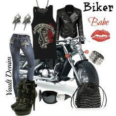 Bling Jeans for Biker Chick Biker Chick Outfit, Biker Chick Style, Biker Look, Biker Wear, Lady Biker, Biker Girl, Look Fashion, Fashion Outfits, Womens Fashion
