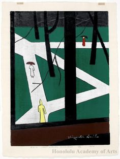 Kiyoshi Saito - Rain (Ann Arbor) Michigan Ann Arbor, Japanese Art, Michigan, Paintings, Artists, Illustration, Pictures, Image, Japan Art