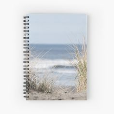 Sandy Beach Notebook, Dreamy Beach Journal, Spiral Notebook, Beach Gift for Friend, Light Blue Tan Notepad, Ocean Photo, Path to Beach Print