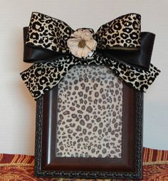 Embellished Photo Frame with Bow, Leopard Print Ribbon Bow, 5 x 7, Flower, Mother's Day Gift, Gift Ideas