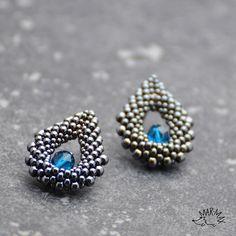 Earrings, hematite toho seed beads and blue czech fire-polished beads