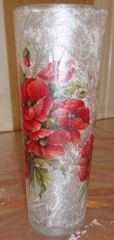 Декупаж - Сайт любителей декупажа - DCPG.RU | Декупаж на стекле. Стеклянная ваза.