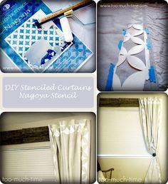 DIY Stenciled curtains with Cutting Edge Stencils Nagoya Stencil