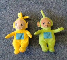 FOUND in QUEEN'S PARK, BRIGHTON, EAST SUSSEX, UK (14 August 2013)  This cuddly Teletubbies - Laa-Laa & Dipsy toys were found by Brighton & Hove City Council's Playbus contact: https://twitter.com/BHCCplaybus