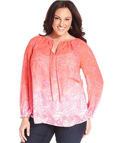 Charter Club Plus Size Top, Long-Sleeve Printed Ombre Peasant - Plus Size Tops - Plus Sizes - Macy's