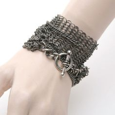 BNWT ANN DEMEULEMEESTER SILVER CHAINS DOUBLE WRAP BRACELET HOOK CLOSURE,1400$ #ANNDEMEULEMEESTER