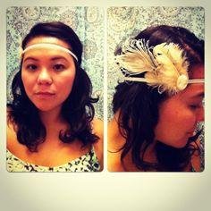 Vintage Peacock w/ white lady appliqué Headband