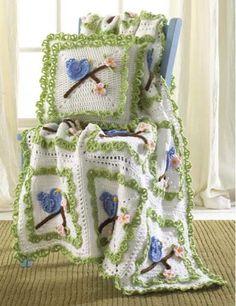 Bluebird Afghan And Pillow Set Crochet Pattern