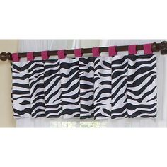 "Sweet Jojo Designs Zebra Tab Top 54"" Curtain Valance Color: Pink"