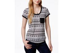 Self Esteem Juniors' Contrast-Trim Pocket T-Shirt - Juniors Tops - Macy's
