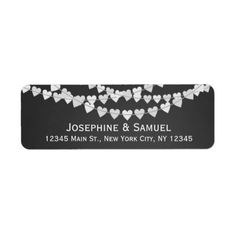White Heart Strings Chalkboard Wedding Address Label