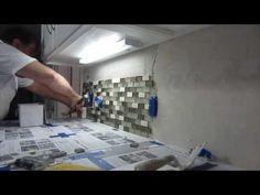 ▶ How to install glass mosaic tile backsplash, Part 2 installing the tile - YouTube