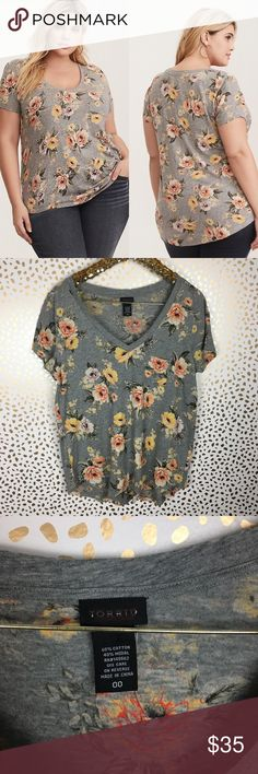 93a33be0200 Torrid Floral V-neck Tee Super cute brand new torrid Floral short sleeve  V-neck Tee. Please see pics for size chart Multiple sizes available torrid  Tops ...