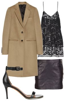 NYE: lightweight mini skirt, lace camisole, coat, sandals