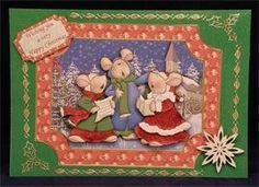 Christmas Carol Singing Mice (7 x 5 decoupaged tent card)