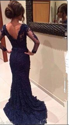 Long Sleeves Lace Prom Dresses,Mermaid Navy Blue Open Back Prom Dress,Mother Dresses,Lace Prom Dresses,Prom Gowns,Evening Dresses,Evening Gowns