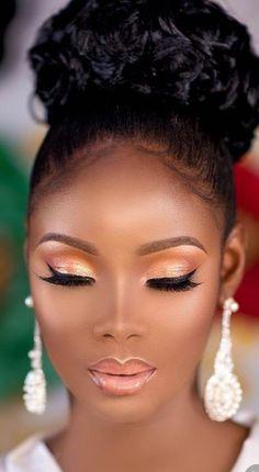 Popular Ideas Wedding Makeup Natural Black Women Make Up Best Wedding Makeup, Bridal Makeup Looks, Natural Wedding Makeup, Natural Makeup, Black Bridal Makeup, Hair Wedding, Natural Hair, Dark Skin Makeup, Black Makeup