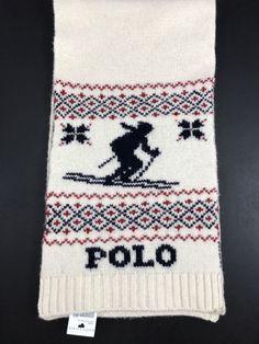 1f9f0b0a466 NEW Men s POLO RALPH LAUREN 100% Wool SKI Sweater Scarf CREAM NORDIC SKIER