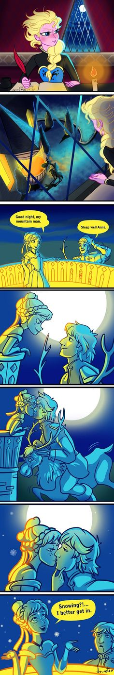 Anna, Elsa, Kristoff, & Sven Art I can see this coming from Aladdin. Oh and Elsa is studying algebra!! Anybody notice?: