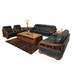 Load image into Gallery viewer, Genuine Leather Sofa Bed Livingroom Furniture Genuine Leather Sofa, Leather Sofa Bed, Bed Furniture, Living Room Furniture, Wooden Sofa Designs, Living Room Sets, Recliner, Love Seat, Luxury