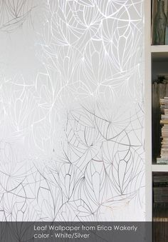 Leaf wallpaper from Erica Wakerly in White/Silver