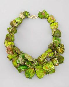 Beautiful stones make really cool jewelry-Nest Chunky Green Jasper Necklace - Neiman Marcus Jewelry Art, Beaded Jewelry, Jewelry Accessories, Vintage Jewelry, Jewelry Necklaces, Fashion Jewelry, Jewelry Design, Bracelets, Jewellery