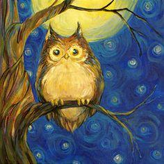 Owls Posters - Owl in Starry Night Poster by Peggy Wilson