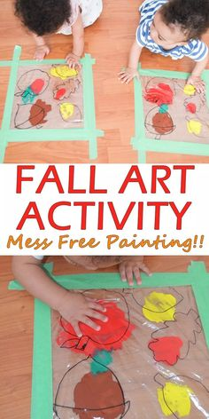 Mess Free Fall Painting : Mess Free Fall Art Activity - HAPPY TODDLER PLAYTIME Mess free painting for Fall! A fun and easy art activity that is perfect for all ages - babies, toddlers and preschoolers! Fall Arts And Crafts, Easy Fall Crafts, Fall Crafts For Kids, Fall Toddler Crafts, Crafts For 3 Year Olds, Winter Craft, Kids Diy, Daycare Crafts, Baby Crafts