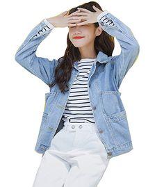 Damen Button Down Denim Boyfriend Jean Jacke Mantel Lose Jeansjacke Outwear  Oversize Hellblau S - Jeansjacke frauen jeansjacken damen jeans outfit jeans  ... c0437b67f0