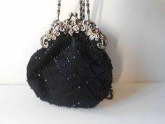 Black Beaded Evening Bag Vintage Purse by LittleBitsofGlamour, $29.00