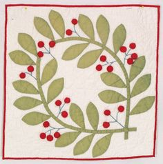 Stuffed Cherry Wreath, c. 1845, New York, finished quilt fragment from Betsey Telford-Goodwin's Rocky Mountain Quilts