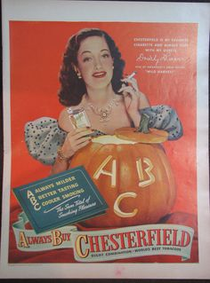 Original Vintage 1947 Chesterfield Tobacco Dorothy Lamour Halloween Print Ad #Chesterfield