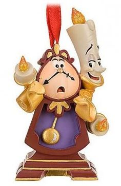 Disney Cogsworth and Lumiere ornament (2010) glitter accents