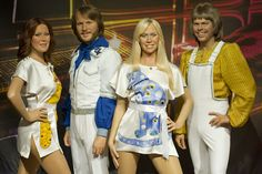Iconic pop band ABBA's wax figures have been revealed at Madame Tussauds London, where they will be for a limited time only...    The group cost £600,000 to create and took a dedicated team of sculptors and hair and colour artists four months to create!