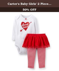Carter's Baby Girls' 2 Piece Sweetheart Tutu Set -3 Months. A sweetheart screen print and a tulle tutu are so cute for your baby girl's first Valentine's Day.