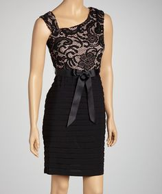 Take a look at this Black Lace Shutter Sleeveless Dress - Petite on zulily today!
