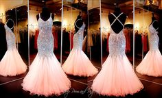 Coral Beaded Mermaid Prom Dress-Open Back-ONLY at Rsvp Prom and Pageant…