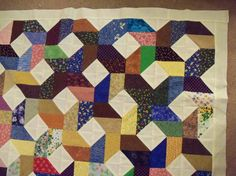 Scrappy Quilt Diamonds 42 x 52 quilt top cream muslin border | eBay