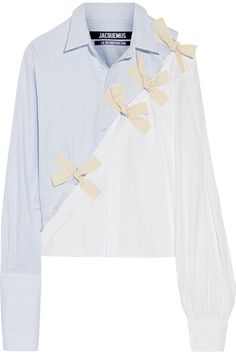 Sky-blue and white cotton Oxford, white cotton-poplin Button fastenings along front 100% cotton Dry clean