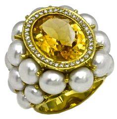 Citrine, Diamond Pearl Ring