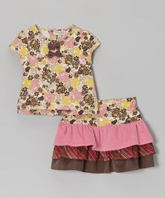 Take a look at this Pink & Yellow Floral Top & Tiered Skirt - Toddler & Girls by P'tite Môm on #zulily today!
