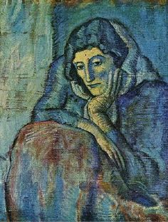 Woman in blue, 1902 by Pablo Picasso, Blue Period. Kunst Picasso, Art Picasso, Picasso Blue, Picasso Paintings, Picasso Images, Picasso Pictures, Henri Matisse, Henri Rousseau, Georges Braque