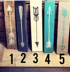 Reclaimed wood arrow with date by partyof9 on Etsy