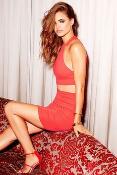 3955da3e12a Chic My Interest Coral Red Lace Two-Piece Dress