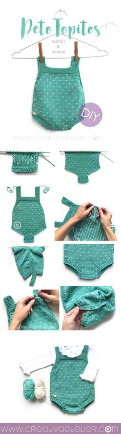 Baby Knitting Patterns Baby knitted bib 'Topitos' – Pattern and DIY tutorial with two needles Baby Knitting Patterns, Knitting For Kids, Baby Patterns, Free Knitting, Knitting Projects, Crochet Patterns, Knitting Needles, Onesie Pattern, Baby Romper Pattern Free