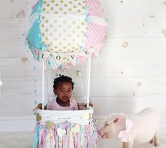 Custom Up Up & Away hot air balloon baby photo by LoulabeeLane