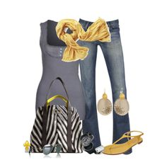 Touches of Yellow, created by hatsgaloore on Polyvore
