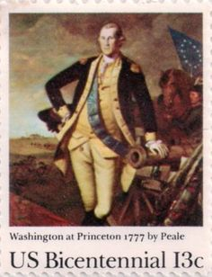 US postage stamp, 13 cents. Washington at Princeton 1777 by Peale. Issued 1977. Scott catalog 1704.