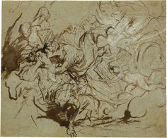 Anthony van Dyck (1599-1641) Diana and Endymion  Pen and brush, brown ink, and brown wash, heightened with opaque white, on blue gray laid paper. The Morgan.